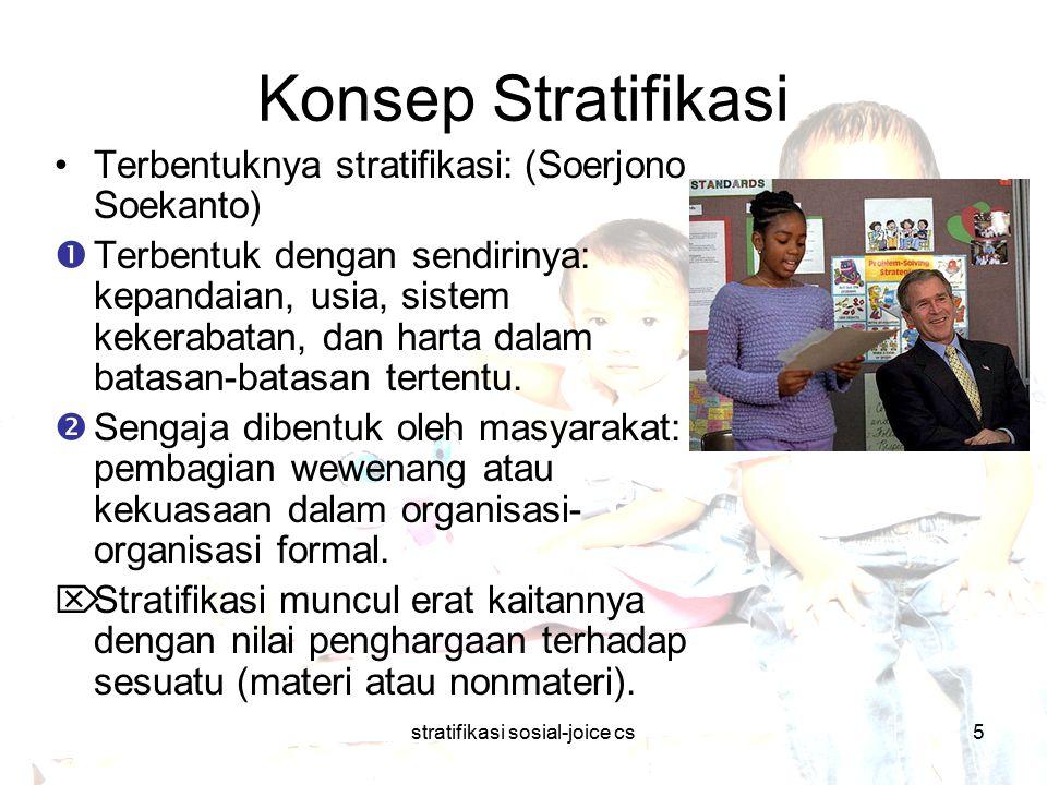 stratifikasi sosial-joice cs5 Konsep Stratifikasi Terbentuknya stratifikasi: (Soerjono Soekanto)  Terbentuk dengan sendirinya: kepandaian, usia, sist