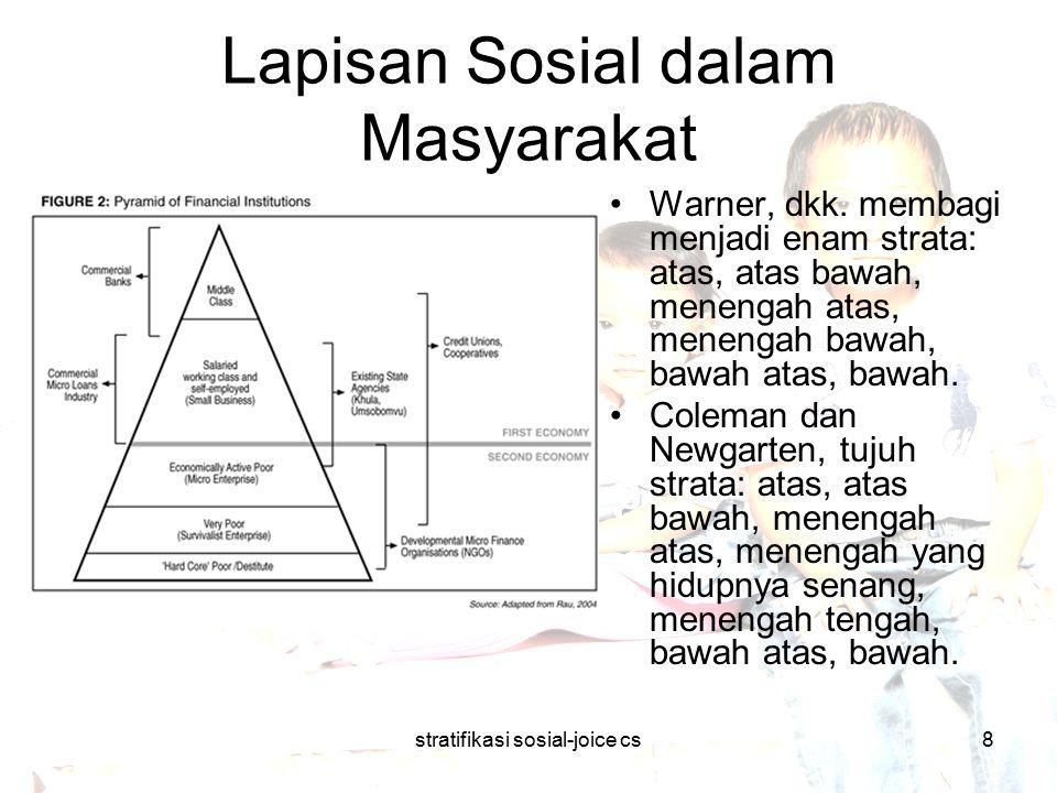 stratifikasi sosial-joice cs8 Lapisan Sosial dalam Masyarakat Warner, dkk. membagi menjadi enam strata: atas, atas bawah, menengah atas, menengah bawa