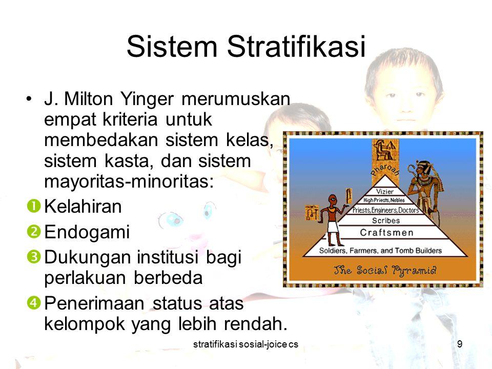 stratifikasi sosial-joice cs9 Sistem Stratifikasi J. Milton Yinger merumuskan empat kriteria untuk membedakan sistem kelas, sistem kasta, dan sistem m