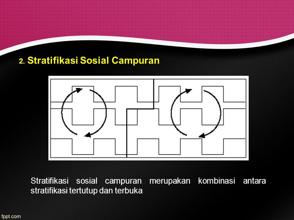 2. Stratifikasi Sosial Campuran Stratifikasi sosial campuran merupakan kombinasi antara stratifikasi tertutup dan terbuka