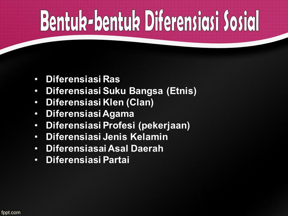 Diferensiasi Ras Diferensiasi Suku Bangsa (Etnis) Diferensiasi Klen (Clan) Diferensiasi Agama Diferensiasi Profesi (pekerjaan) Diferensiasi Jenis Kela
