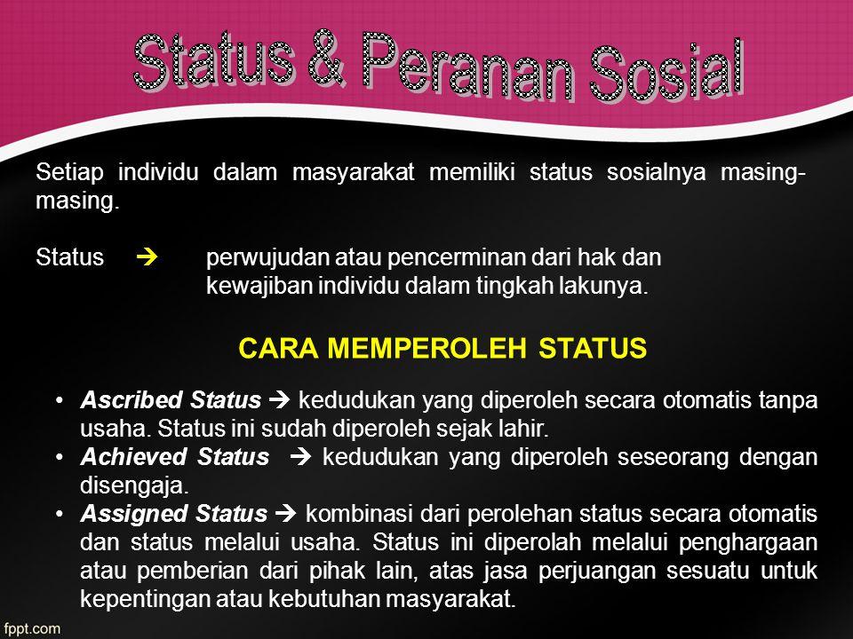 Setiap individu dalam masyarakat memiliki status sosialnya masing- masing. Status  perwujudan atau pencerminan dari hak dan kewajiban individu dalam