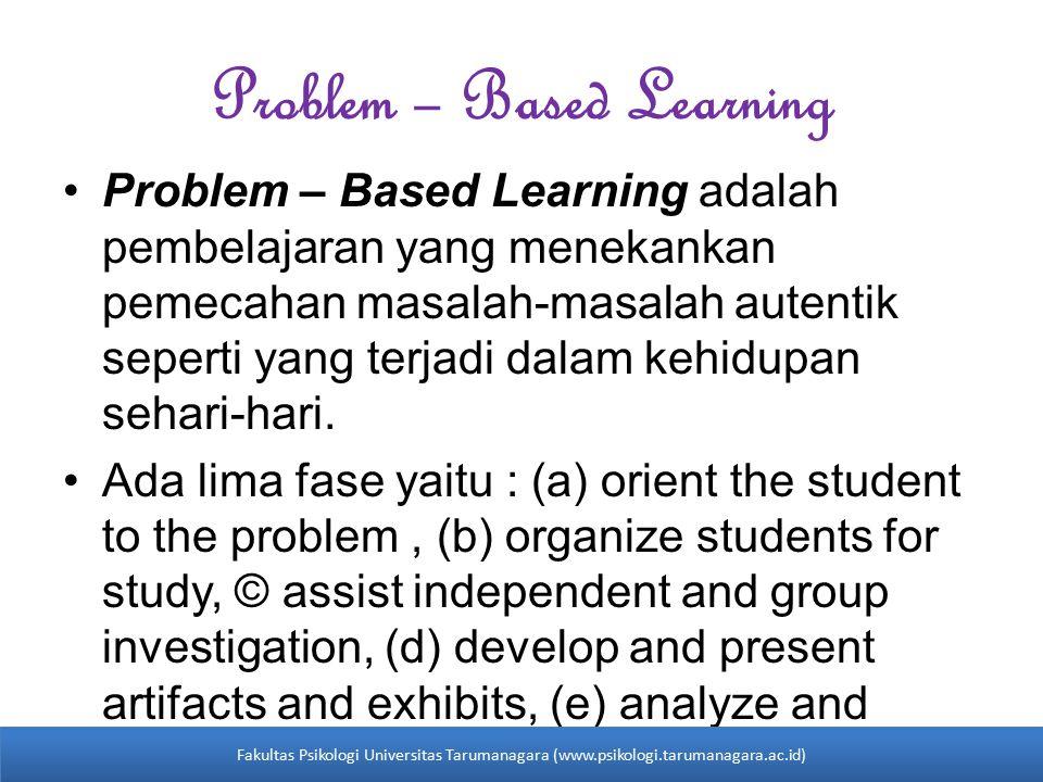 Problem – Based Learning Problem – Based Learning adalah pembelajaran yang menekankan pemecahan masalah-masalah autentik seperti yang terjadi dalam kehidupan sehari-hari.