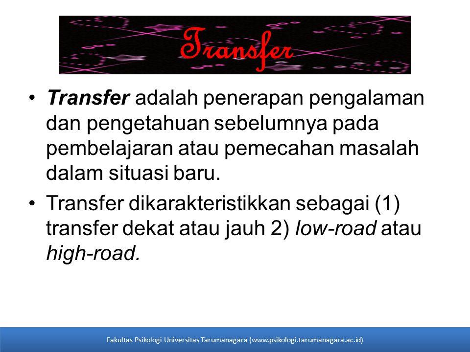 Transfer Transfer adalah penerapan pengalaman dan pengetahuan sebelumnya pada pembelajaran atau pemecahan masalah dalam situasi baru. Transfer dikarak
