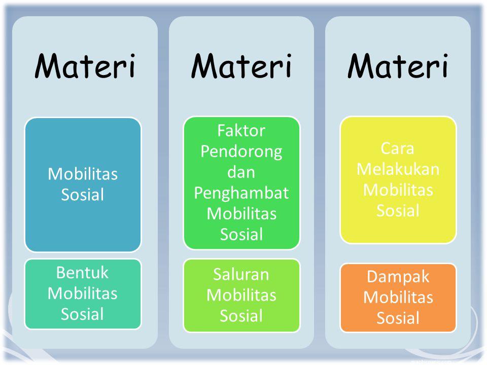 Materi Mobilitas Sosial Bentuk Mobilitas Sosial Materi Faktor Pendorong dan Penghambat Mobilitas Sosial Saluran Mobilitas Sosial Materi Cara Melakukan Mobilitas Sosial Dampak Mobilitas Sosial