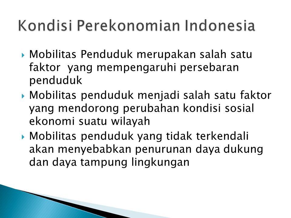 Kebijakan makro mobilitas penduduk * ekonomi makro 1967-1980, pemusatan industri manufaktur di Jakarta dan pesisir Jawa  urbanisasi meningkat * 1980, mekanisasi sektor pertanian yg berakibat penurunan daya serap TK sektor pertanian  migrasi desa - kota & peningkatan transmigrasi paruh tahun dasawarsa 80-an dan pengembangan KTI 12
