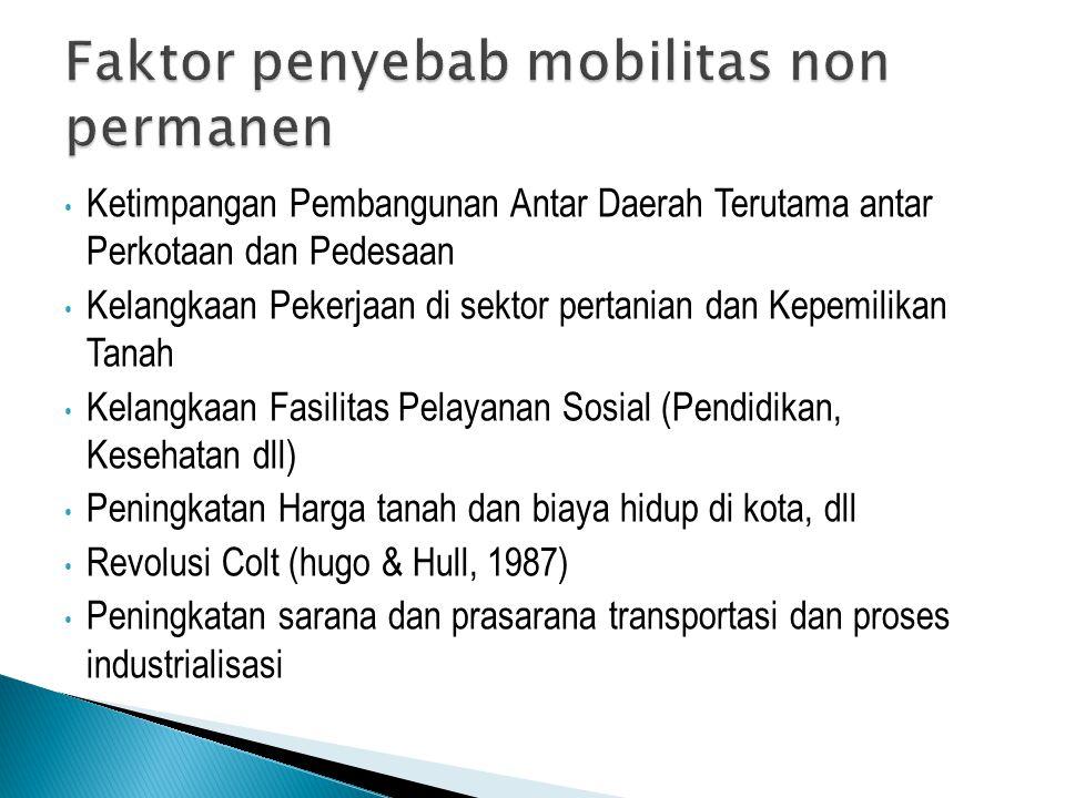  Mobilitas non permanen seringkali dibahas dalam lingkup mikro  Belum ada data nasional, tetapi SUPAS 2005 atau Sakernas 2007 sudah memasukkan data