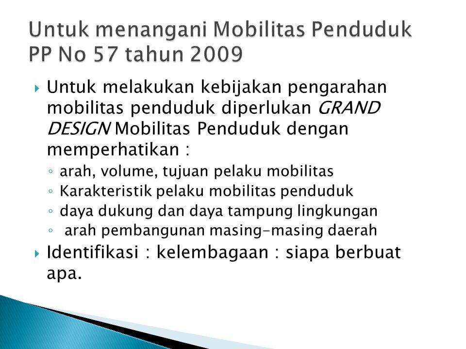  Pengarahan mobilitas penduduk untuk : ◦ menumbuhkan kondisi kondusif bagi terjadinya migrasi internal yang harmonis; ◦ memberikan perlindungan pendu