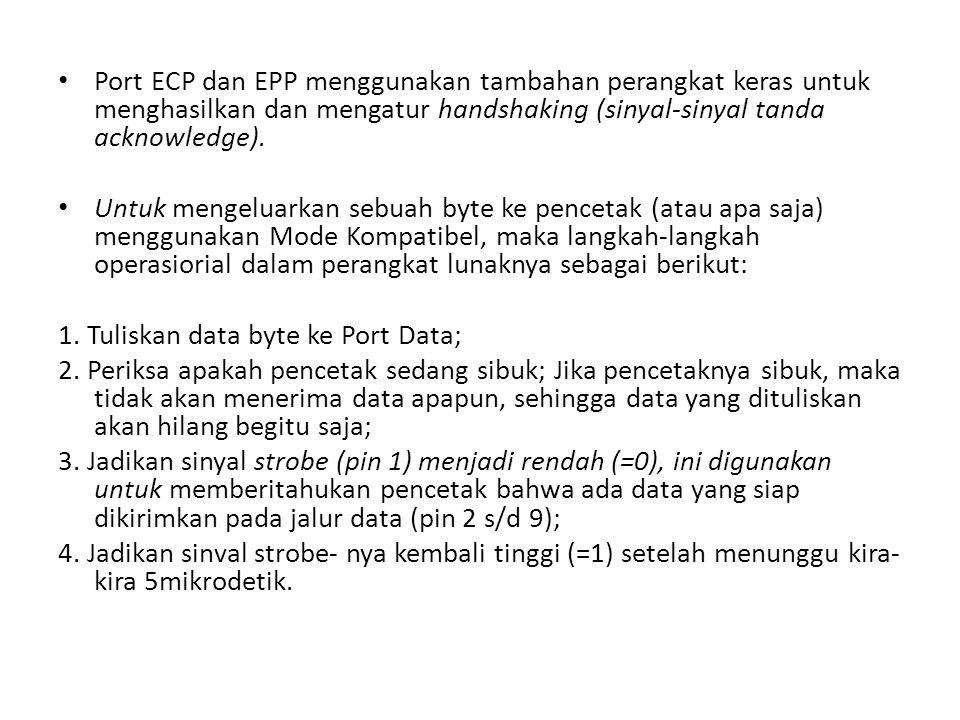 Port ECP dan EPP menggunakan tambahan perangkat keras untuk menghasilkan dan mengatur handshaking (sinyal-sinyal tanda acknowledge). Untuk mengeluarka