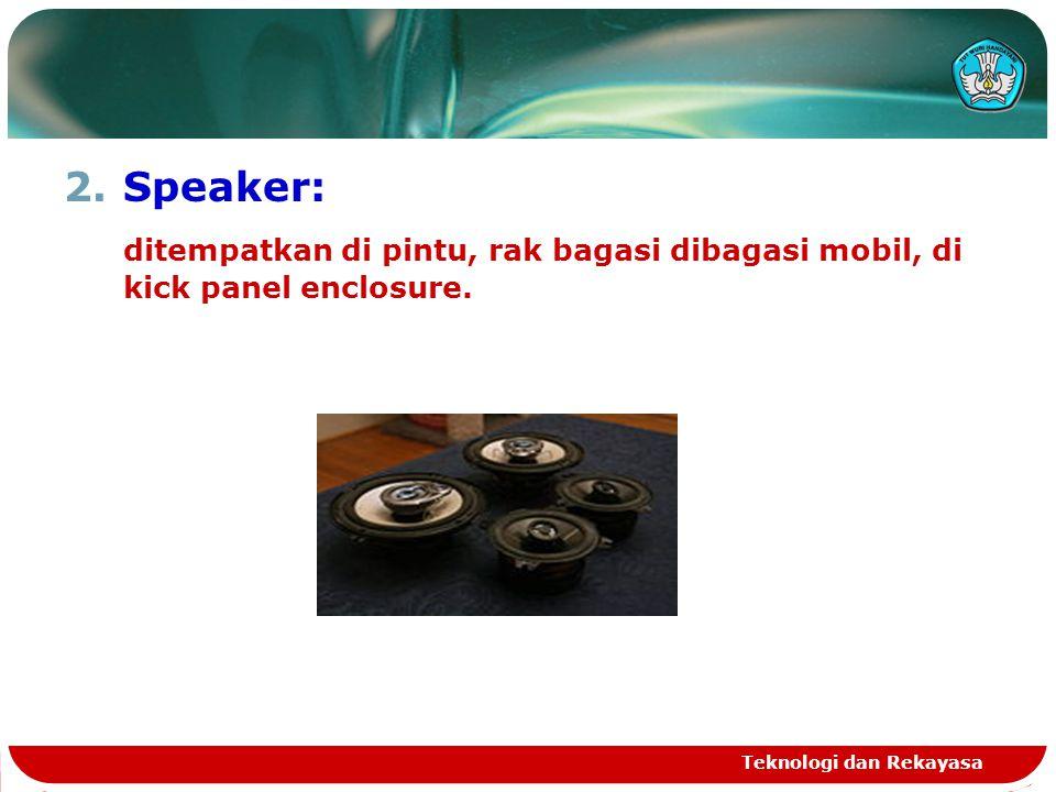 2.Speaker: ditempatkan di pintu, rak bagasi dibagasi mobil, di kick panel enclosure.