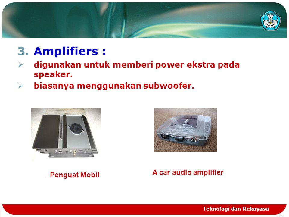 3.Amplifiers :  digunakan untuk memberi power ekstra pada speaker.  biasanya menggunakan subwoofer. Teknologi dan Rekayasa. Penguat Mobil A car audi