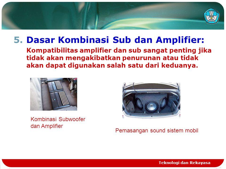 5.Dasar Kombinasi Sub dan Amplifier: Kompatibilitas amplifier dan sub sangat penting jika tidak akan mengakibatkan penurunan atau tidak akan dapat dig