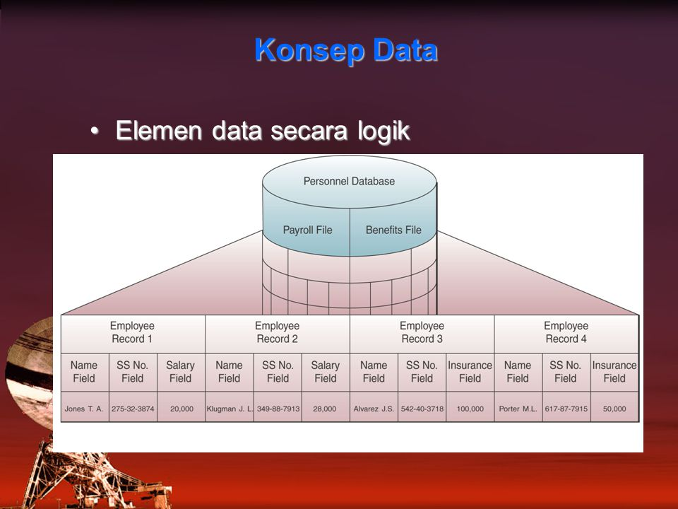 Konsep Data Elemen data secara logikElemen data secara logik