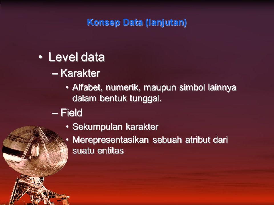 Level dataLevel data –Karakter Alfabet, numerik, maupun simbol lainnya dalam bentuk tunggal.Alfabet, numerik, maupun simbol lainnya dalam bentuk tunggal.