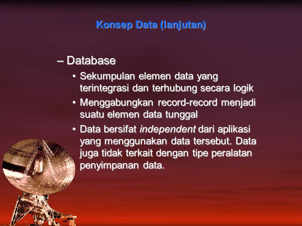 –Database Sekumpulan elemen data yang terintegrasi dan terhubung secara logikSekumpulan elemen data yang terintegrasi dan terhubung secara logik Menggabungkan record-record menjadi suatu elemen data tunggalMenggabungkan record-record menjadi suatu elemen data tunggal Data bersifat independent dari aplikasi yang menggunakan data tersebut.