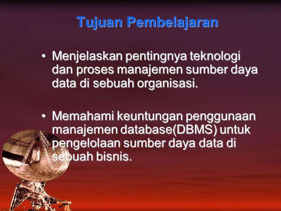 Tujuan Pembelajaran Menjelaskan pentingnya teknologi dan proses manajemen sumber daya data di sebuah organisasi.Menjelaskan pentingnya teknologi dan proses manajemen sumber daya data di sebuah organisasi.