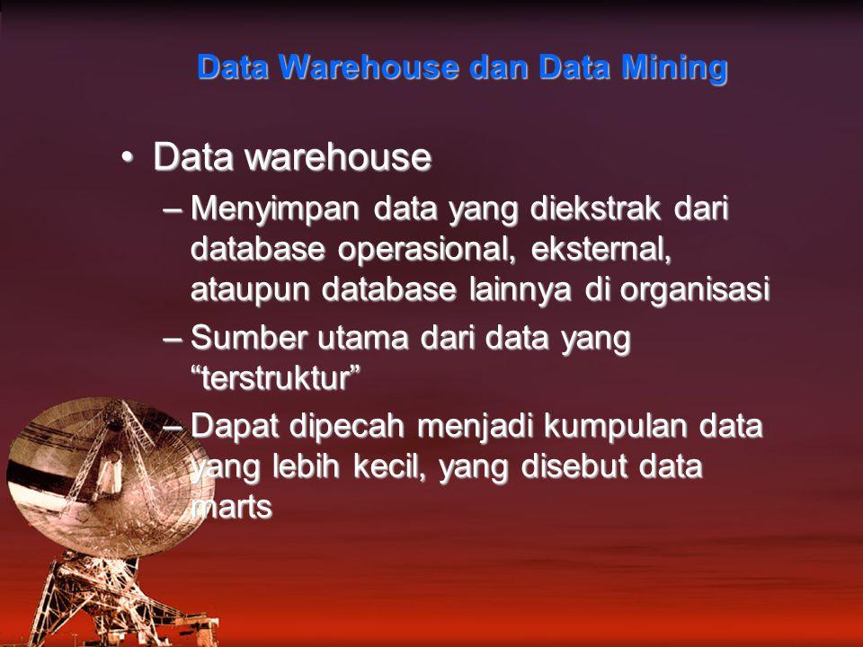 Data warehouseData warehouse –Menyimpan data yang diekstrak dari database operasional, eksternal, ataupun database lainnya di organisasi –Sumber utama dari data yang terstruktur –Dapat dipecah menjadi kumpulan data yang lebih kecil, yang disebut data marts Data Warehouse dan Data Mining