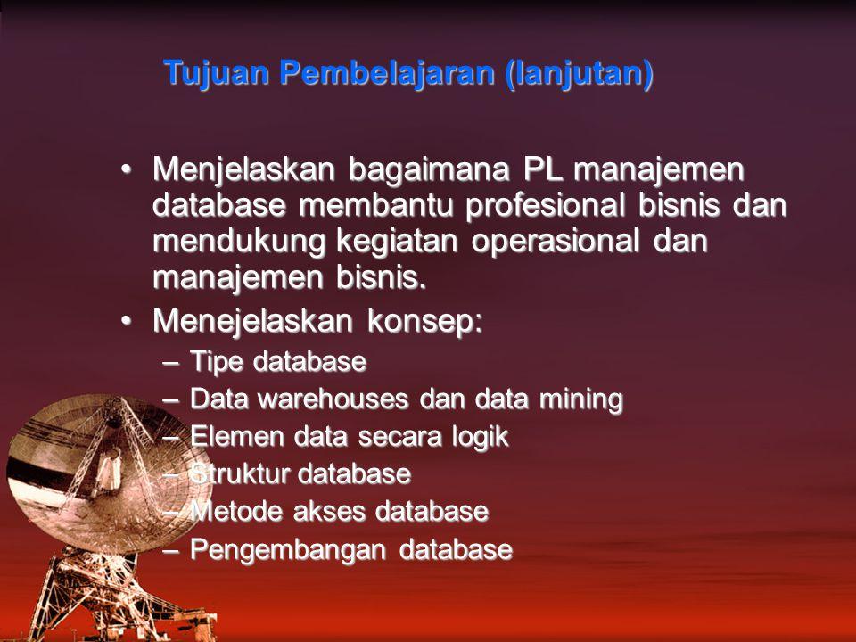 Menjelaskan bagaimana PL manajemen database membantu profesional bisnis dan mendukung kegiatan operasional dan manajemen bisnis.Menjelaskan bagaimana PL manajemen database membantu profesional bisnis dan mendukung kegiatan operasional dan manajemen bisnis.
