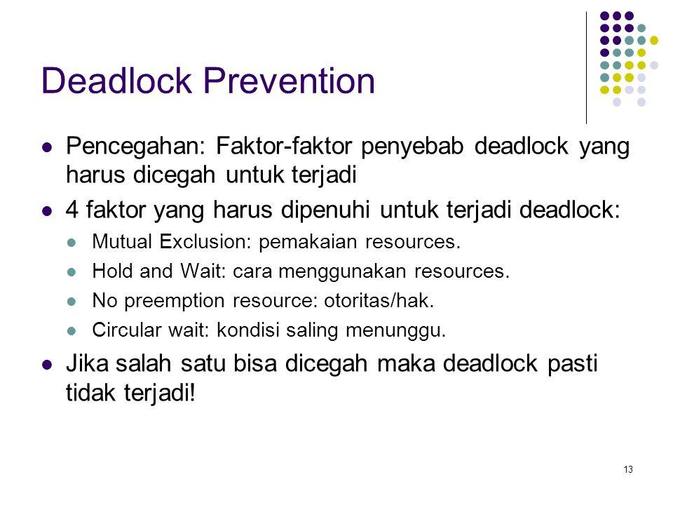 13 Deadlock Prevention Pencegahan: Faktor-faktor penyebab deadlock yang harus dicegah untuk terjadi 4 faktor yang harus dipenuhi untuk terjadi deadlock: Mutual Exclusion: pemakaian resources.