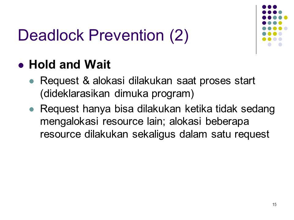 15 Deadlock Prevention (2) Hold and Wait Request & alokasi dilakukan saat proses start (dideklarasikan dimuka program) Request hanya bisa dilakukan ketika tidak sedang mengalokasi resource lain; alokasi beberapa resource dilakukan sekaligus dalam satu request