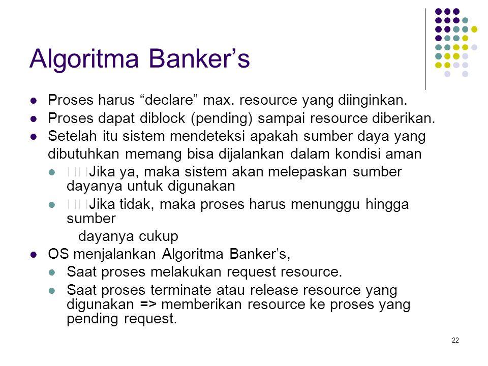 22 Algoritma Banker's Proses harus declare max.resource yang diinginkan.
