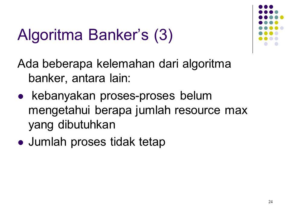 24 Algoritma Banker's (3) Ada beberapa kelemahan dari algoritma banker, antara lain: kebanyakan proses-proses belum mengetahui berapa jumlah resource max yang dibutuhkan Jumlah proses tidak tetap