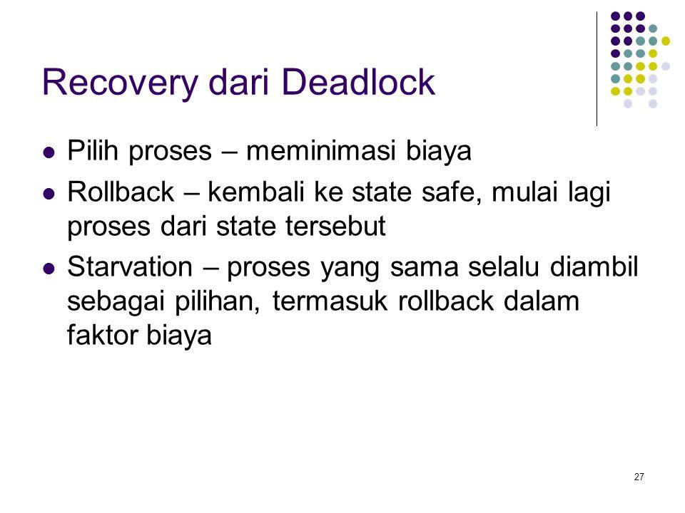 27 Recovery dari Deadlock Pilih proses – meminimasi biaya Rollback – kembali ke state safe, mulai lagi proses dari state tersebut Starvation – proses yang sama selalu diambil sebagai pilihan, termasuk rollback dalam faktor biaya