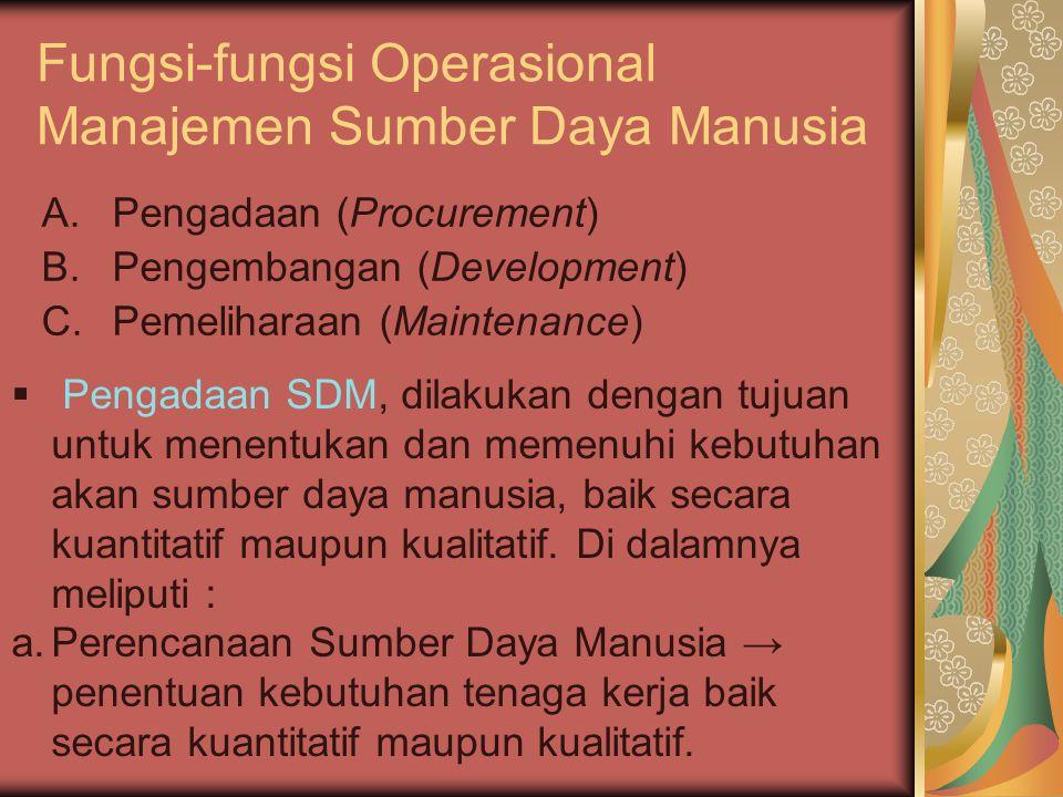 Fungsi-fungsi Operasional Manajemen Sumber Daya Manusia A.Pengadaan (Procurement) B.Pengembangan (Development) C.Pemeliharaan (Maintenance)  Pengadaa