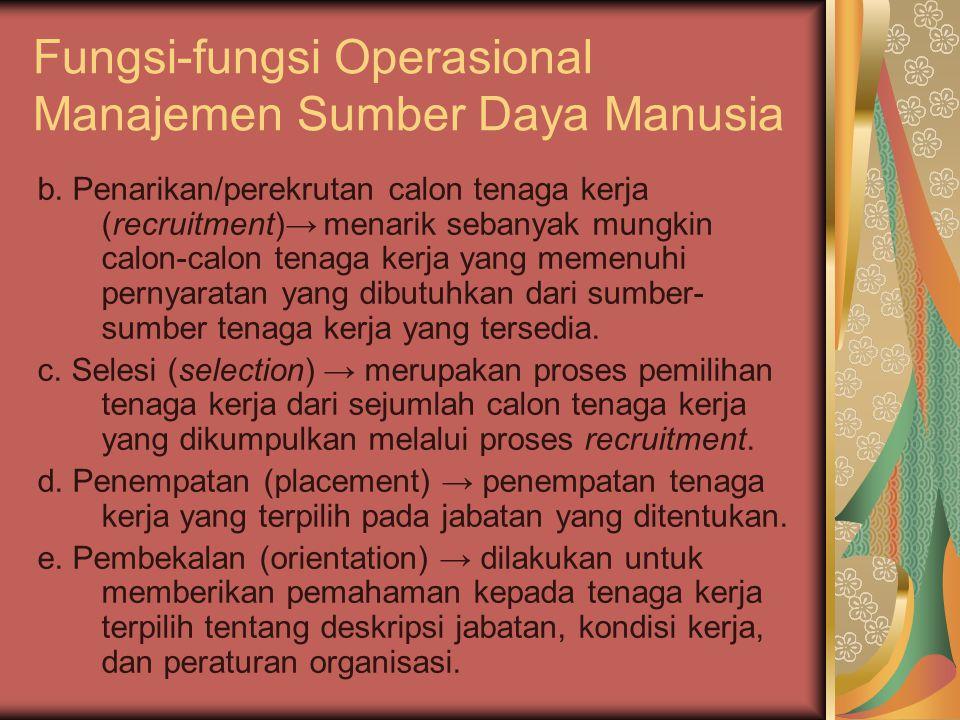 Fungsi-fungsi Operasional Manajemen Sumber Daya Manusia b.