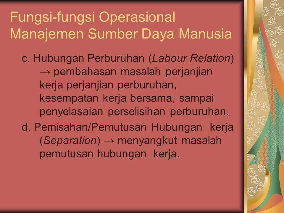 Fungsi-fungsi Operasional Manajemen Sumber Daya Manusia c.