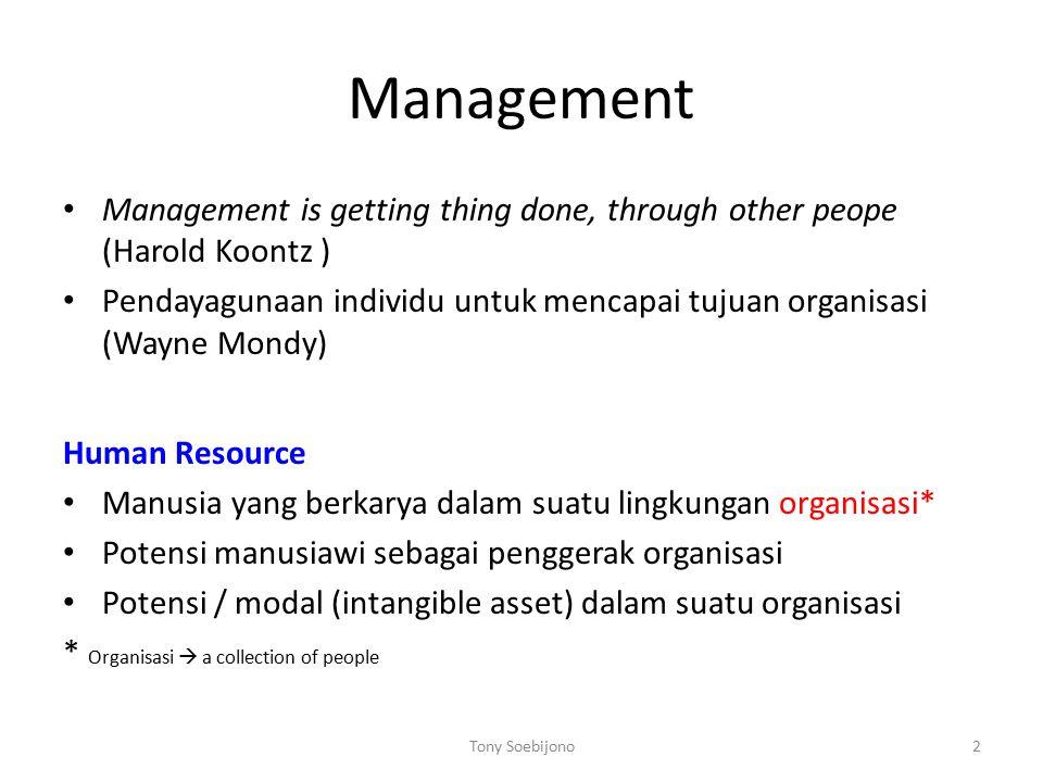 Man = Human Man Human Selalu hal yang baik – baik Punya value of life (mis: jujur) Manajemen  untuk change Human Resource Management Management + Human Resource = ?