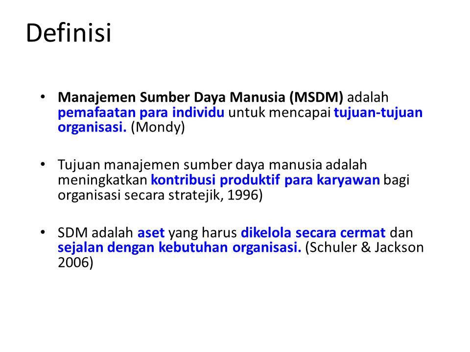 Definisi Manajemen Sumber Daya Manusia (MSDM) adalah pemafaatan para individu untuk mencapai tujuan-tujuan organisasi. (Mondy) Tujuan manajemen sumber