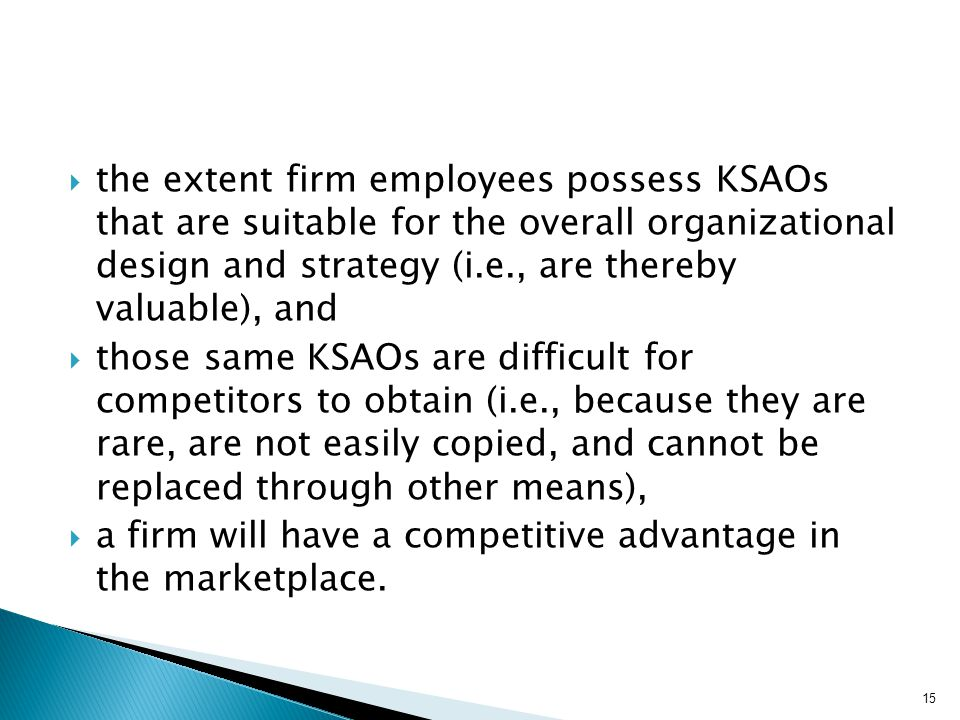  the extent firm employees possess KSAOs that are suitable for the overall organizational design and strategy (i.e., are thereby valuable), and  tho