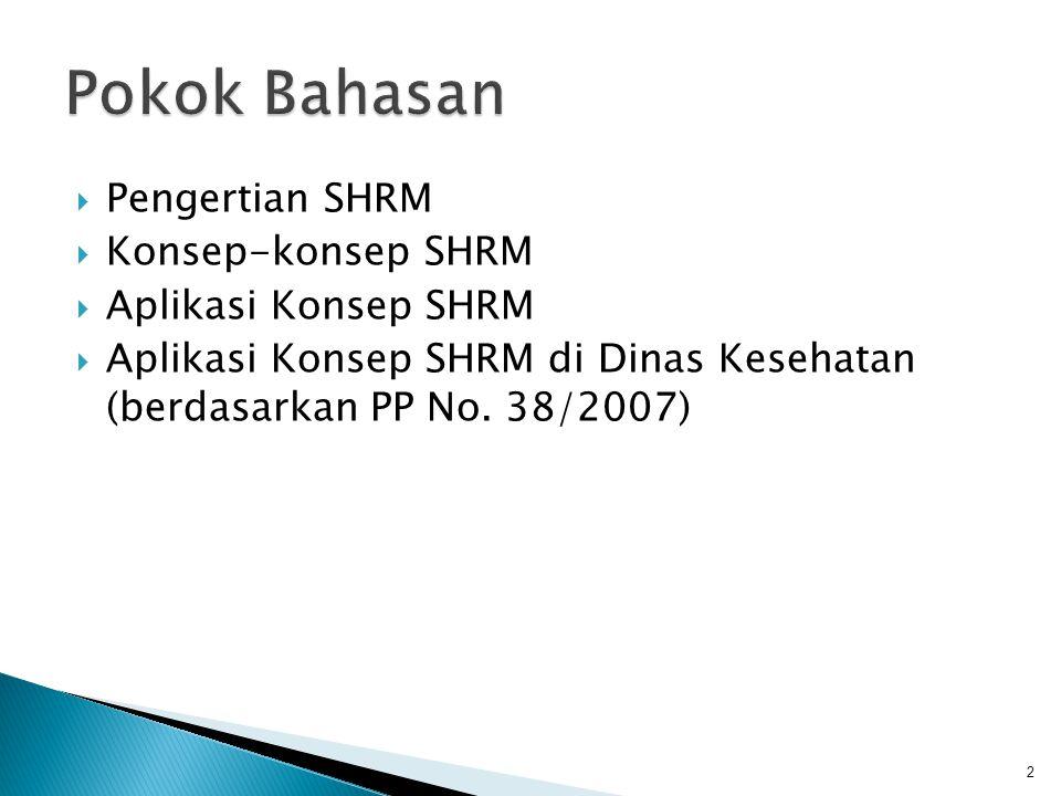  Pengertian SHRM  Konsep-konsep SHRM  Aplikasi Konsep SHRM  Aplikasi Konsep SHRM di Dinas Kesehatan (berdasarkan PP No. 38/2007) 2