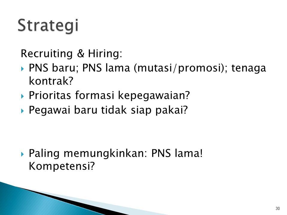 Recruiting & Hiring:  PNS baru; PNS lama (mutasi/promosi); tenaga kontrak?  Prioritas formasi kepegawaian?  Pegawai baru tidak siap pakai?  Paling