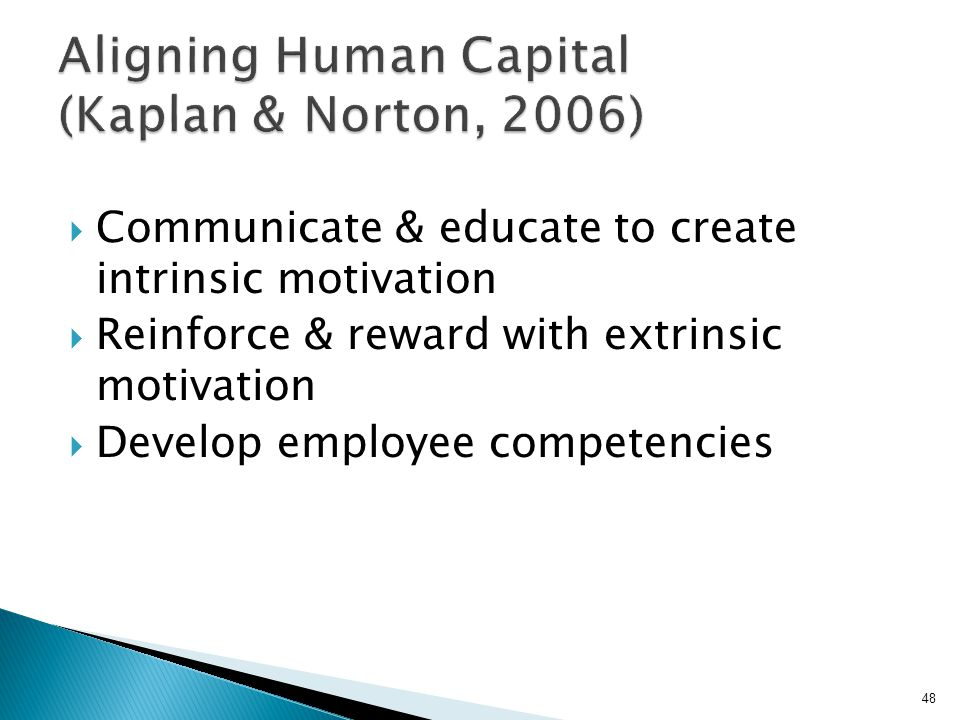  Communicate & educate to create intrinsic motivation  Reinforce & reward with extrinsic motivation  Develop employee competencies 48