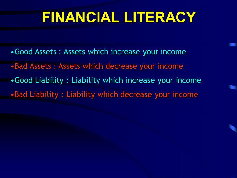 FINANCIAL LITERACY Income / Penghasilan Expenses / Pengeluaran Asset / HartaLiability / Hutang Income Statement / Laporan Rugi Laba Balance Sheet / Neraca Keuangan Good Asset Bad Asset Good Lialibility Bad Lialibility