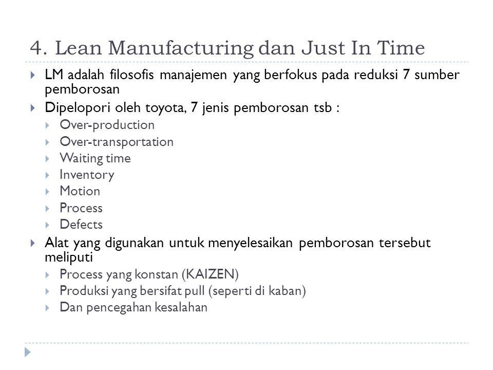4. Lean Manufacturing dan Just In Time  LM adalah filosofis manajemen yang berfokus pada reduksi 7 sumber pemborosan  Dipelopori oleh toyota, 7 jeni