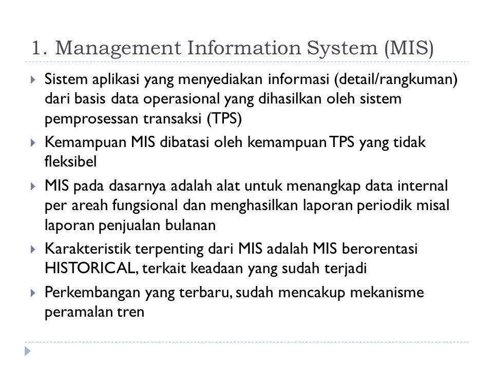 1. Management Information System (MIS)  Sistem aplikasi yang menyediakan informasi (detail/rangkuman) dari basis data operasional yang dihasilkan ole