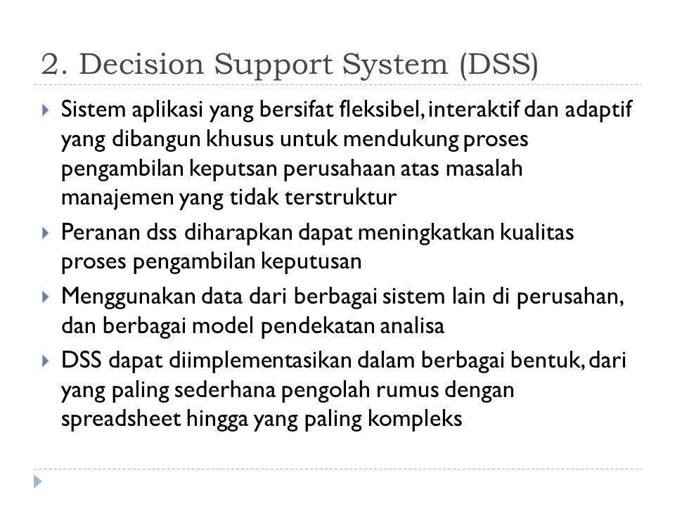 2. Decision Support System (DSS)  Sistem aplikasi yang bersifat fleksibel, interaktif dan adaptif yang dibangun khusus untuk mendukung proses pengamb