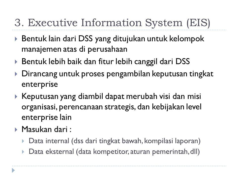 3. Executive Information System (EIS)  Bentuk lain dari DSS yang ditujukan untuk kelompok manajemen atas di perusahaan  Bentuk lebih baik dan fitur