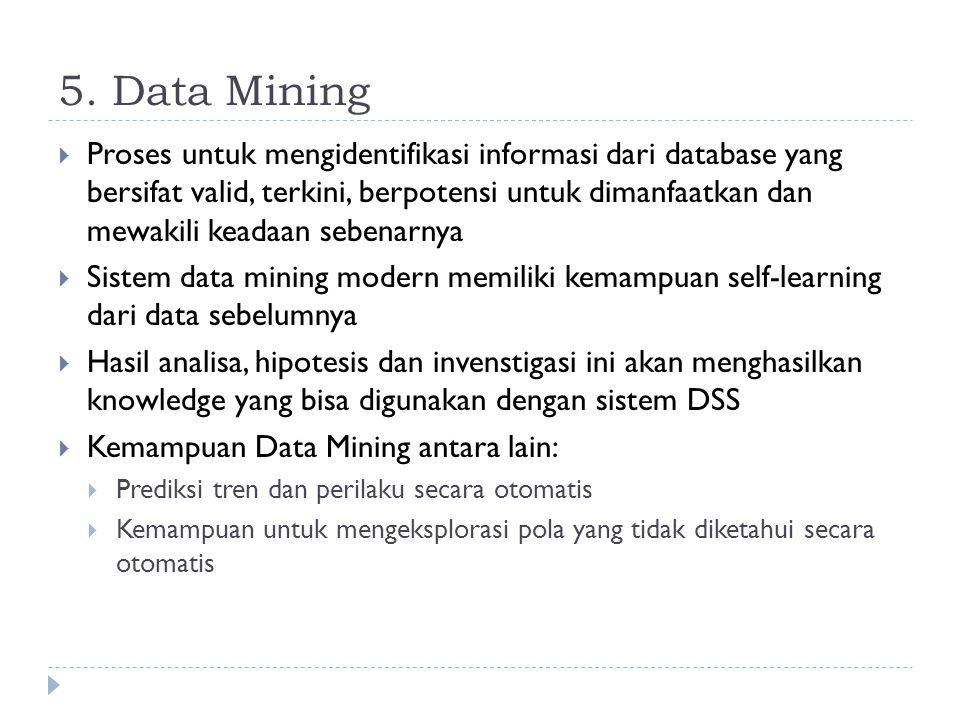 5. Data Mining  Proses untuk mengidentifikasi informasi dari database yang bersifat valid, terkini, berpotensi untuk dimanfaatkan dan mewakili keadaa
