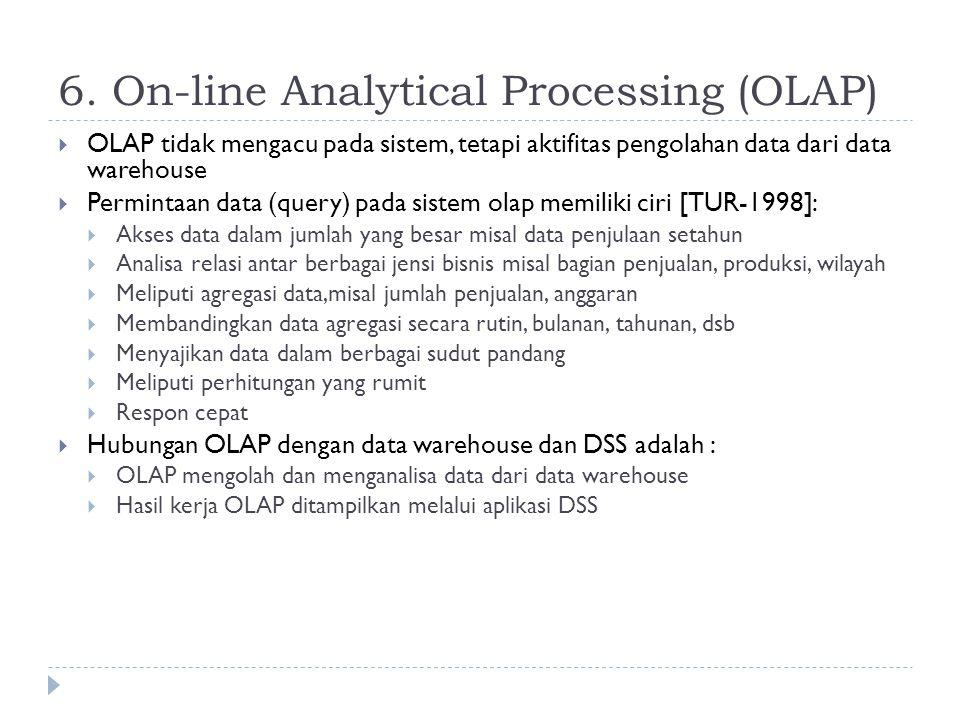 6. On-line Analytical Processing (OLAP)  OLAP tidak mengacu pada sistem, tetapi aktifitas pengolahan data dari data warehouse  Permintaan data (quer