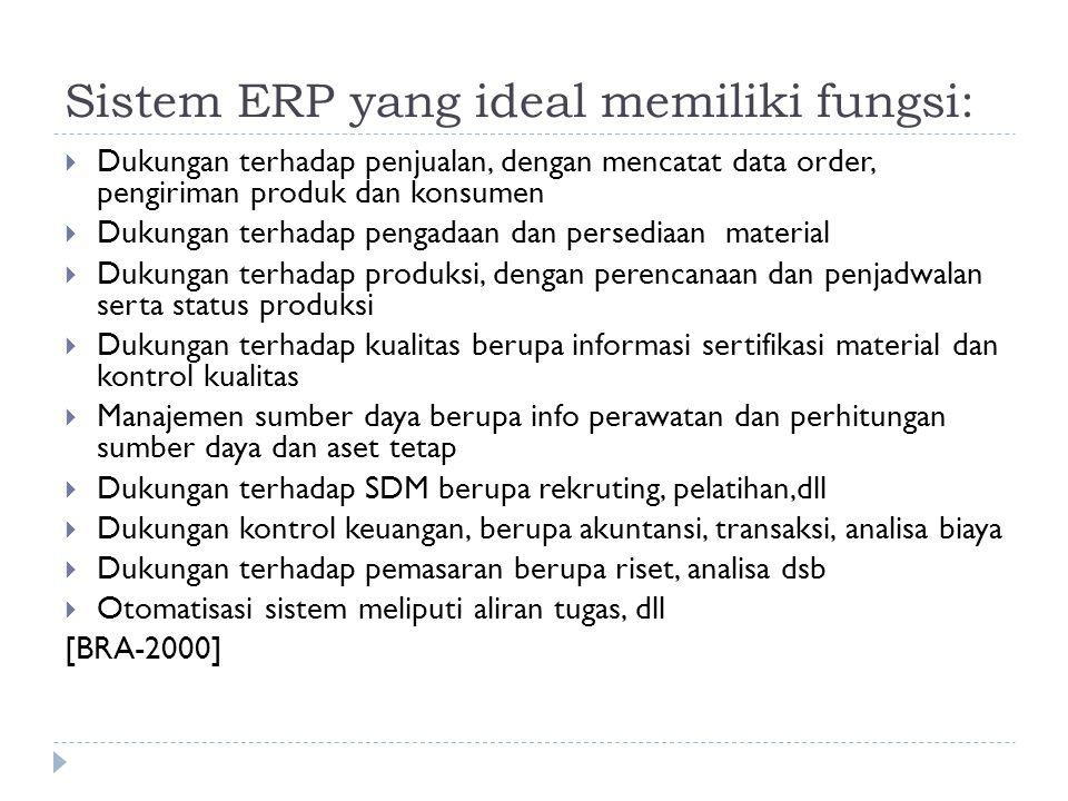 Sistem ERP yang ideal memiliki fungsi:  Dukungan terhadap penjualan, dengan mencatat data order, pengiriman produk dan konsumen  Dukungan terhadap p