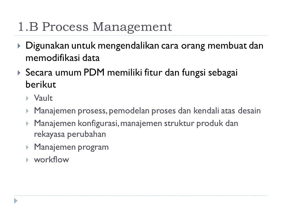 1.B Process Management  Digunakan untuk mengendalikan cara orang membuat dan memodifikasi data  Secara umum PDM memiliki fitur dan fungsi sebagai be
