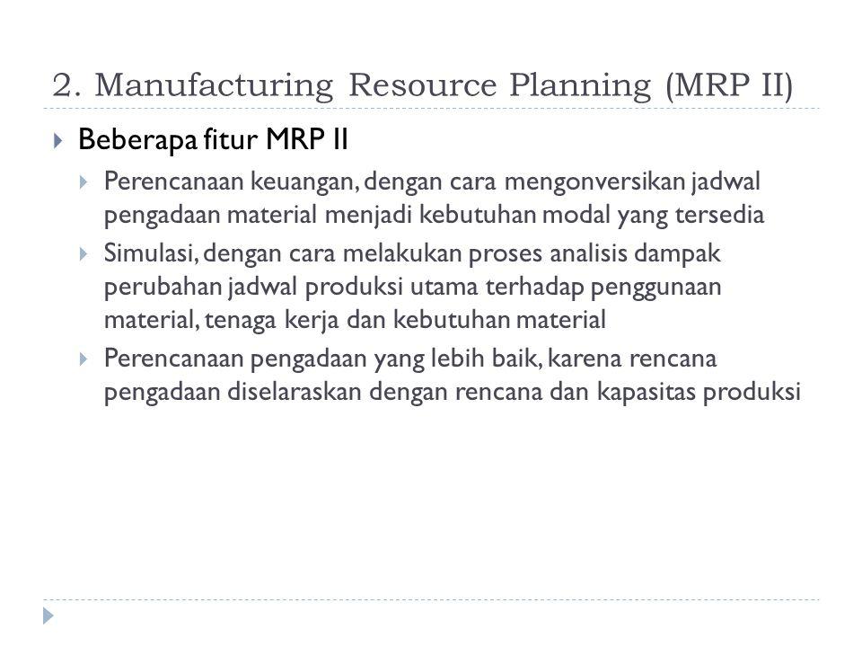 2. Manufacturing Resource Planning (MRP II)  Beberapa fitur MRP II  Perencanaan keuangan, dengan cara mengonversikan jadwal pengadaan material menja