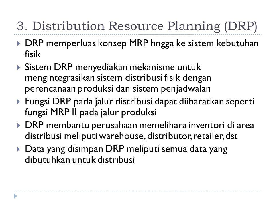 3. Distribution Resource Planning (DRP)  DRP memperluas konsep MRP hngga ke sistem kebutuhan fisik  Sistem DRP menyediakan mekanisme untuk menginteg
