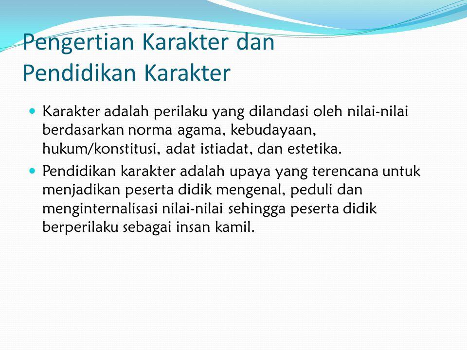 Pengertian Karakter dan Pendidikan Karakter Karakter adalah perilaku yang dilandasi oleh nilai-nilai berdasarkan norma agama, kebudayaan, hukum/konsti