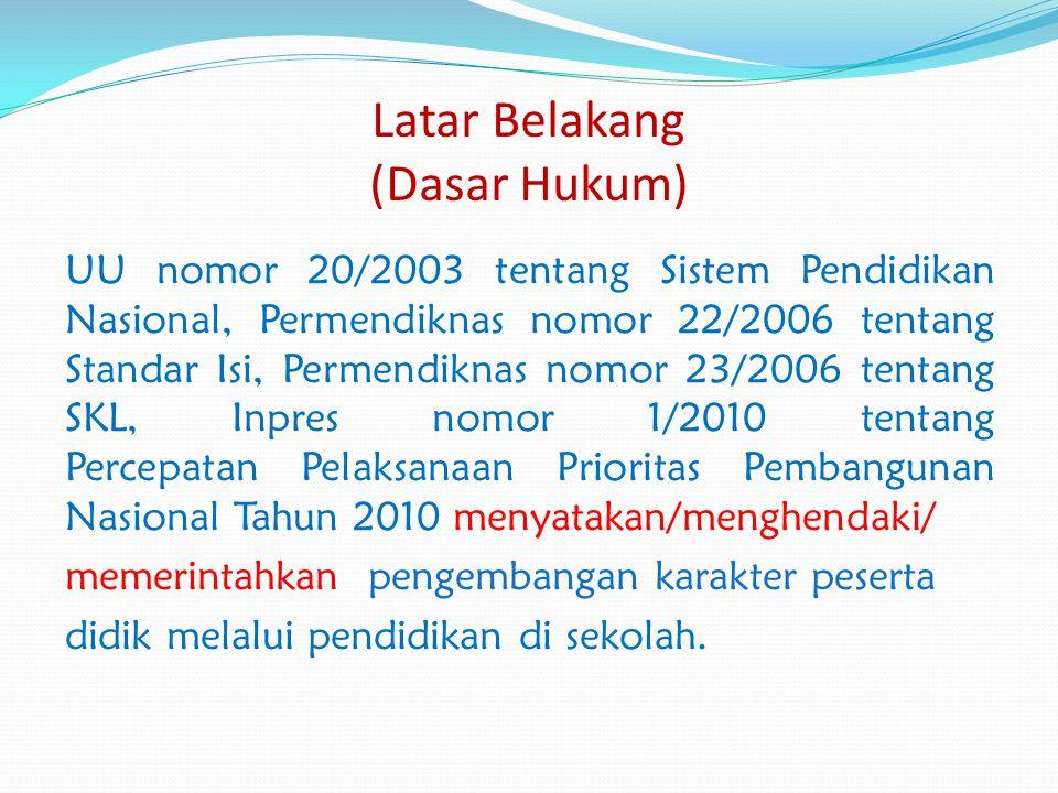 Latar Belakang (Dasar Hukum) UU nomor 20/2003 tentang Sistem Pendidikan Nasional, Permendiknas nomor 22/2006 tentang Standar Isi, Permendiknas nomor 2