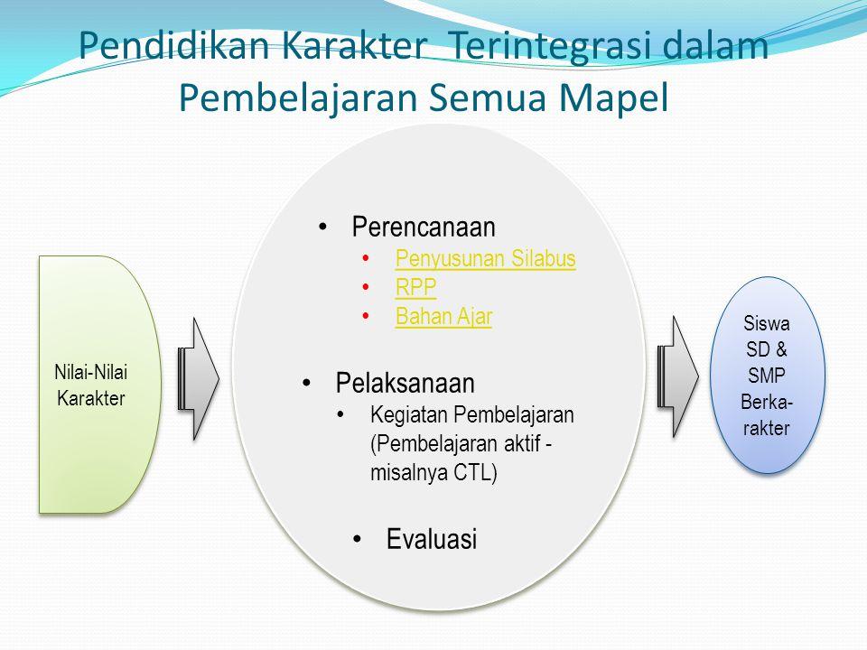 Pendidikan Karakter Terintegrasi dalam Pembelajaran Semua Mapel Perencanaan Penyusunan Silabus RPP Bahan Ajar Pelaksanaan Kegiatan Pembelajaran (Pembe